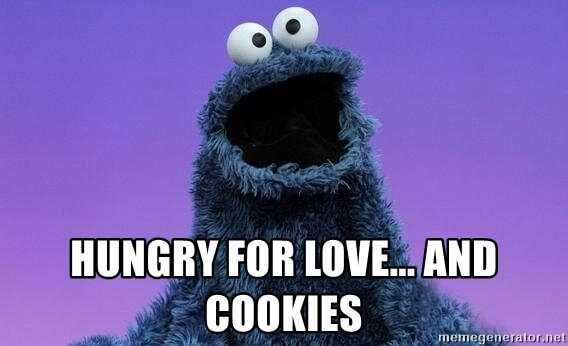Cookie Monster: hungry for love... and cookies