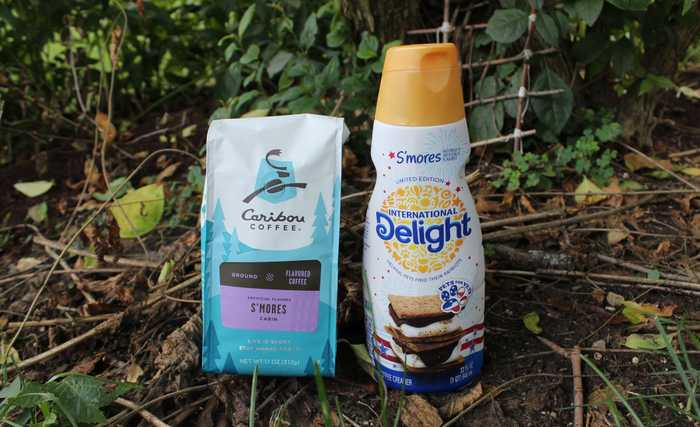 Caribou S'mores Cabin coffee and International Delight s'mores creamer